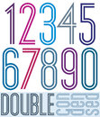 Condensed colorful double numbers isolated on white Royalty Free Stock Photo