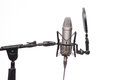 Condenser Mic On Stand In Studio Isolated On White Royalty Free Stock Photo