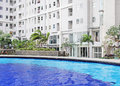 A condo swimming pool real estate Royalty Free Stock Image