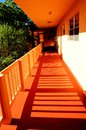 Condo walkway condominium outdoor while the sun is setting in south florida Stock Image