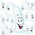 Condom cartoon illustration with many expression