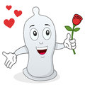 Condom character with red rose a funny cartoon a in his hand isolated on white background useful also as an original greeting card Stock Image