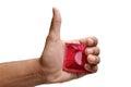 Condom concept safety measure for safe intercourse Stock Photos