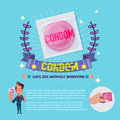 Condom in package with guarantee label. healthy concept - vecto