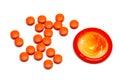 Condom and pills orange isolated on white background Stock Images