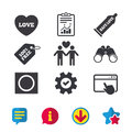 Condom safe sex icons. Lovers Gay couple sign. Royalty Free Stock Photo