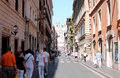 Condotti street famous st in rome italy the which is located in the centre of rome is a busy and fashionable with many Stock Image