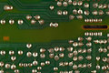 Conductive tracks on electronic circuit board close up. Royalty Free Stock Photo
