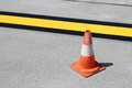Cone, road markings Royalty Free Stock Photo