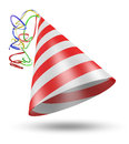 Cone shaped birthday party hat with stripes and ribbons red white striped colorful rendered in d Stock Photos