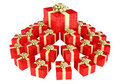Cone shaped heap of red gift boxes Royalty Free Stock Image