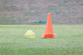 Cone training of green grass Royalty Free Stock Photo