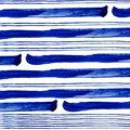 Conecte and thick blue stripes of watercolor paint on white background