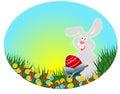 Conejo de Pascua con el huevo rojo (postal de Pascua) Fotografía de archivo libre de regalías