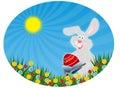 Conejo de Pascua con el huevo rojo (postal de Pascua) Fotos de archivo libres de regalías