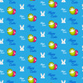 Conejo feliz bunny blue seamless background de pascua Fotos de archivo