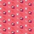 Conejo feliz bunny pink seamless background de pascua Fotos de archivo libres de regalías
