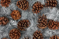 Cones and christmas decorations can be used as background Royalty Free Stock Image