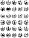 Ícones cinzentos do Web, teclas Imagens de Stock