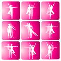 Ícones da silhueta da dança da ioga da aptidão Fotografia de Stock Royalty Free