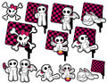 Ícones nervosos do preto & da cor-de-rosa Imagem de Stock