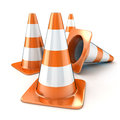 Cones orange road done in d Stock Photos
