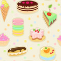 Confection seamless pattern with cakes ice cream macaron eclair Stock Photos