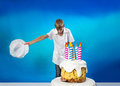 Confectioner with cake cheerful a birthday Stock Photo