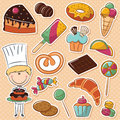 Confectioner cute with different sweets Royalty Free Stock Photos