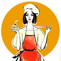 Confectioner girl in chef hat and red apron with cupcake in hand