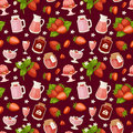 Confectionery desserts strawberry pink delicious product fruit healthy red berry seamless pattern vector illustration