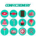 Confectionery flat icon set