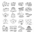 Confectionery icon. Set of cute various desserts icons.
