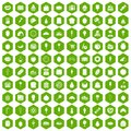 100 confectionery icons hexagon green