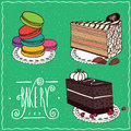 Confectionery set in handmade cartoon style