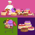 stock image of  Confectionery shop Sale. Set of sweets, cakes. desserts. vector illustration
