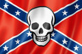 Confederate death flag with skull three dimensional render satin texture Royalty Free Stock Photos