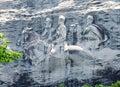 Confederate Memorial Carving at Stone Mountain, Georgia. Royalty Free Stock Photo
