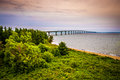 Confederation bridge cape jourimain and the surrounding beach in new brunswick canada Royalty Free Stock Photo
