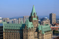 Confederation building in ottawa historic buidling built the gothic revival style aerial view looking north Royalty Free Stock Images