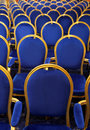 Conference chairs interior of hall with blue velvet Stock Photo