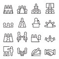 Conference & Meeting Icon set in thin line style Royalty Free Stock Photo