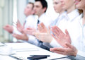 Conference photo of business partners hands applauding at meeting Royalty Free Stock Photos