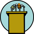 conference stand with microphones vector
