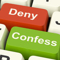Confess Deny Keys Shows Confessing Or Denying Guilt Innocence Stock Photos