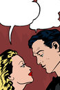 Confessing love soap opera comic based on the old style of comic books couple to each other Stock Photography