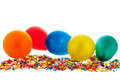 Confetti and balloons colorful isolated over white background Royalty Free Stock Photos
