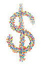 Confetti dollar symbol Stock Photography