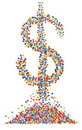 Confetti dollar symbol Royalty Free Stock Images