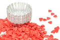 Confetti heart shape for cake decoration Royalty Free Stock Photos